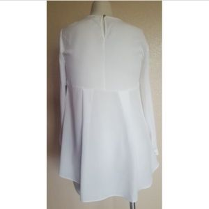 Vince Camuto High-Low Long Sleeve Ivory Top S